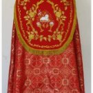 Red Cope Vestment with Mitre Agnus Dei Design Satin Lined Traditional Catholic