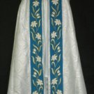 Marian Cope  White Silver Brocade and Blue w/Lilies Orphrey+ Humeral Veil Latin