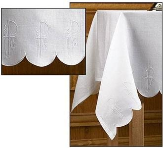 """100% Linen Altar Cloth White Alpha Omega Embroidery Scalloped Edges 52""""W x 96""""L"""