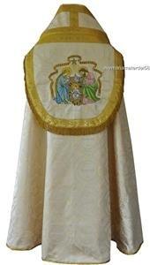 Catholic Vintage Style Christmas Nativity Cope Embroidered Gold Damask Lovely!
