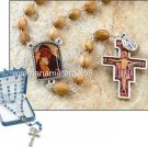 "San Damiano Rosary 7 x 9MM Olive Wood Bead Oxidized Silver/Epoxy 22.5""L Boxed"