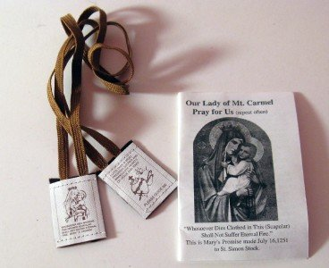 Two Mount Carmel Brown Scapulars Wool with Brown Strings and Leaflet