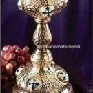 "Catholic Orthodox 24Kt Gold Plated Chalice Set 8 oz. 10.5""H x 3.5""D & Paten 5""D"