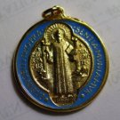 "Saint Benedict Medal Gold Plate w/Laminate 1.25"" approx."