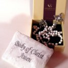 "First Communion Glass Bead Rosary by Ghirelli Gift Boxed 20.5"" Oxidized S"