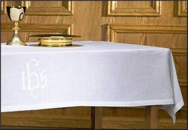 "Cotton/Polyester Altar Cloth IHS Embroidery in Center Size 44""W x 72""L"