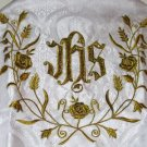 Humeral Veil Embroidered Vestment White Damask Satin Lined Pockets Latin Mass