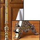 "Paschal Candlestick Holder Roman Style 46""H x 11""W x 2"" Dia. Socket Brass NEW"
