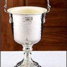 """Catholic Holy Water Pot Brass with Nickel Plating and Sprinkler 14""""H x 6""""D"""