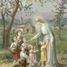 Catholic Picture Print Art Mary with Children Cromo of Italy