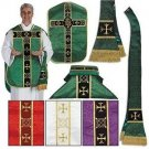 Catholic Purple Fiddleback Chasuble Set  + Stole Maniple Burse Veil Latin Mass