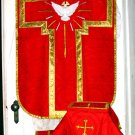 Holy Ghost Red Damask Fiddleback Chasuble Set+Veil, Burse, Maniple, Stole