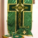 Chasuble Set Green Fiddleback Vestment Set Jacquard + Maniple,Stole,Veil,Burse