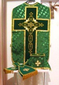 Chasuble Set Green Fiddleback Vestment Set Jacquard + Maniple,Stole,Veil,Burse