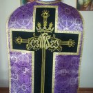 Purple Brocade Damask Fiddleback Chasuble Set + Stole, Maniple, Burse, Veil  XL