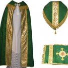 Green Cope Vestment Satin Lined Traditional Catholic + Embroidered Humeral Veil