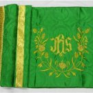 Humeral Veil Embroidered Vestment Green Damask Satin Lined Pockets Latin Mass