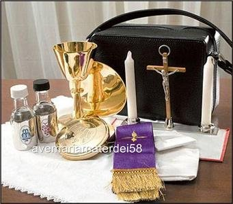 Catholic Priest Mass Kit Includes Chalice Paten Pyx Crucifix Candles Stole Plus