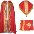 Red Cope Vestment Satin Lined Traditional Catholic Embroidered+Humeral Veil