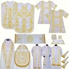 White Solemn High Mass Set, Fiddleback Chasuble, Cope, Stoles, Maniples, Dalmatic, Tunicle