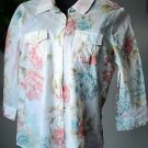 Chico's Cotton Button Front Blouse Women's Size 0 White Floral 3/4 Sleeve