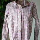 Woolrich Women's Medium Cotton Button Up Long Sleeve Shirt White Pink Brown EUC