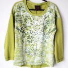 French Blue Long Sleeve Women's Pullover Blouse Top Shirt Green Embellished