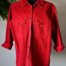 Eddie Bauer Red Corduroy Shirt Jacket 3/4 Sleeves Women's Small Petite Button Up