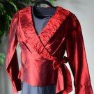 Sunny Leigh Women's Red 100% Silk Wrap Shirt Blouse Size 6 Long Sleeve EUC