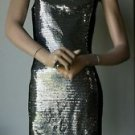 Bongo Sleeveless Clubwear Sequined Black & Silver Sheath Dress Sweetheart Neck S
