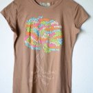 Live Life Green Medium Women's Graphic T Shirt Top 100% Cotton Brown