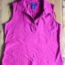Women's Karen Scott M Medium Pink Sleeveless Shirt w Collar Cotton Spandex Blend