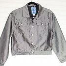 French Toast Silver Metallic Button Front Cropped Denim Jacket Women's 16