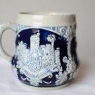Made in Germany Pottery Mug Blue, Castles Stoneware Beer Pug Stein German