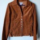 A.M.I. Women's Carmel Brown Corduroy Jacket M Medium Button Up Stretch