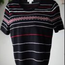 Christopher & Banks Size M Black Striped Sweater Top Short Sleeved Medium EUC
