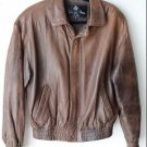 Luis Alvear Vintage Men's Brown Leather Bomber Jacket Small Zip Front Lined