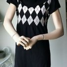 Take Out Cowl Neck Short Sleeved Pullover Sweater Dress Black XL