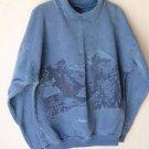 Vintage Habitat 80's Blue Jackson Hole Sweatshirt Teton Landscape Print M Medium