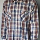 Levi's Movin On Men's XL Shirt Plaid Blue Brown White Button Front Long Sleeve
