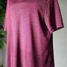 Kathie Lee Collection Women's XL Short Sleeved Top Blouse Shirt Maroon EUC