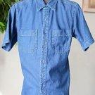 Steer West Men's XS Short Sleeved Blue Denim Shirt Button Up Cotton Western
