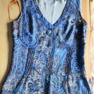 A.N.A Women's, S, Blue & Brown Sleeveless Tank Blouse, Side Zipper, Fully Lined