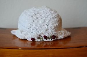 Girls 3 to 6 Months Knitted Crocheted White Hat w/ Rose Embroidery 100% Cotton