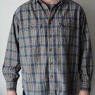 Dockers Brown Button Front Long Sleeve Shirt 100% Cotton Large L Plaid