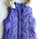 Women's Junior Solid Purple Coat Vest with Fur Hood Urbanology Size M Quilted