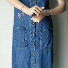 MPH Blues Denim Jumper Long Sleeveless Dress Button Front Pockets Embroidered S