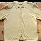 Christopher Banks Womens S Yellow Short Sleeve Button Front Sweater Cotton Blend