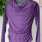 AGB Women's Large Long Sleeved Drape Neck Purple Sparkle Top Blouse EUC Made USA