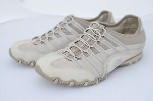 Skechers Leather Athletic Slip On Casual Tennis Shoes Fashion Sneakers Beige 6
